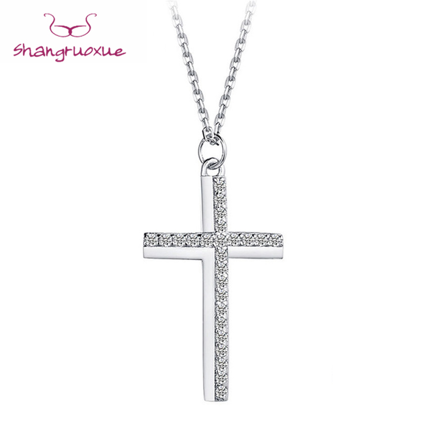 Cross Choker Necklace Real 925 Sterling Silver Pendant Female Jewelry - Fashion Jewelry - Photo 1