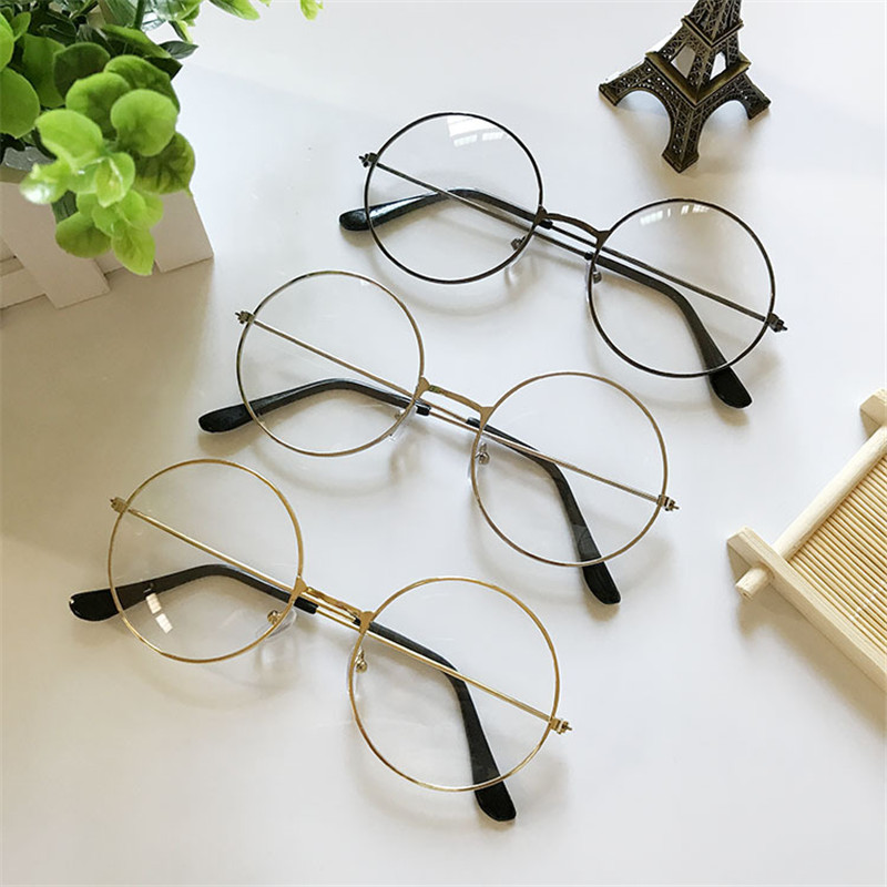 Glasses Clear-Lens Metal-Frame Retro Super And Fashion Popular Couples Round Men's