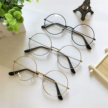 Fashion Vintage Metal Frame Clear Lens Glasses Nerd Geek Eyewear Classic Couples Eyeglasses Oversize Retro Round Circle Eyeglass(China)