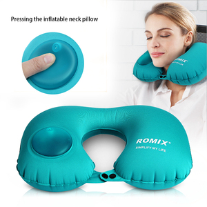 Image 2 - Neck Pillow Airplane Travel Kit Portable Pressing Type Automatic Inflatable Travel Pillow Neck Support Cushion Car U Pillow