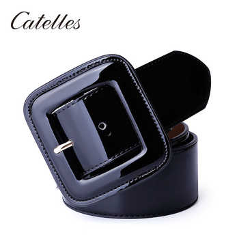Catelles Wide Women\'s Belt Red Female Genuine leather Belt For Women Designers Brand High Quality Woman Waist Belts For Dresses