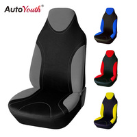 AUTOYOUTH Polyester Fabric Bucket Car Seat Cover 1pcs Set Universal Fits With Non Detachable Headrests And