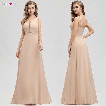 Ever Pretty Blush Long Prom Dresses A-Line O-Neck Sleeveless Ruched Crystal Elegant Evening Party Vestidos De Gala 2020 - discount item  25% OFF Special Occasion Dresses