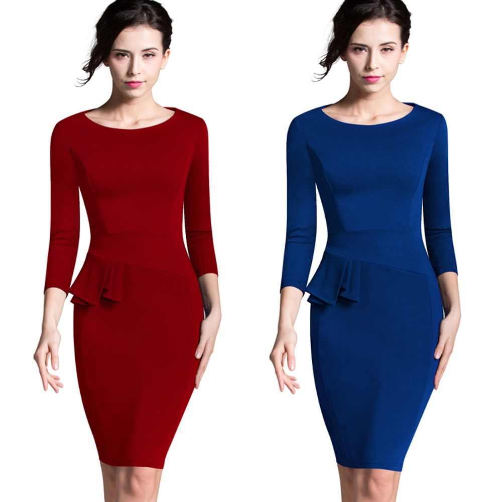 bfcc486896d33 Nice-forever Career Female Peplum Work Dress 3/4 Sleeve O Neck Women  Fashion Sheath Elegant Business Bodycon Pencil Dress b228