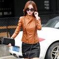 Chaqueta de cuero de las mujeres de Primavera y otoño nuevo párrafo corto chaqueta de cuero Delgada de LA PU niña chaqueta de cuero de costura 6601