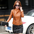 leather jacket women Spring and autumn new  short paragraph Slim PU leather jacket young girl stitching leather jacket 6601