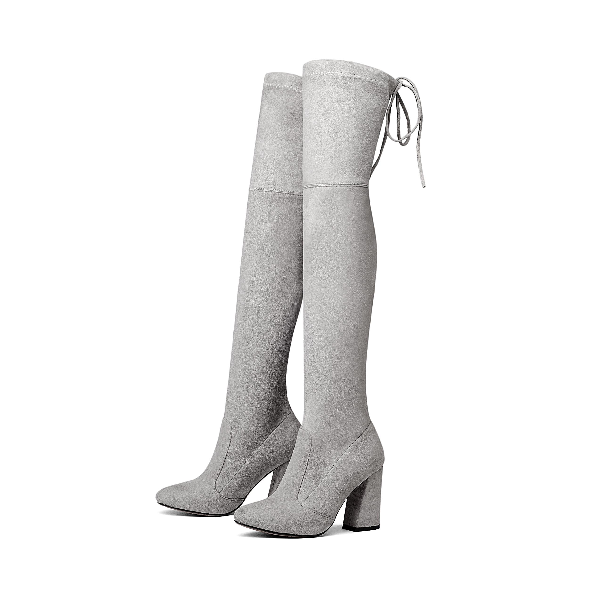 0a4a0f2211 US $27.89 45% OFF NEMAONE Vrouwen Stretch Suede Over de Knie Laarzen Dij  Hoge Laarzen Sexy Mode Plus Size Hoge Hakken Schoenen Vrouw 2017 Bruin in  ...