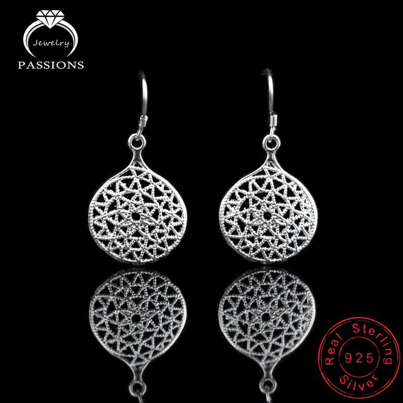 Гаряча Європа Етнічні 925 проби срібла круглі порожні сережки мода елегантні довгі кулон сережки для жінок ювелірні вироби ювелірні вироби