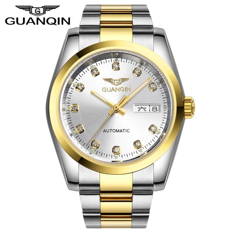 ФОТО Mens Watches Top Luxury Brand GUANQIN Gold Lovers Watch Women Waterproof Dress Classic Mechanical Wristwatch relogio masculino
