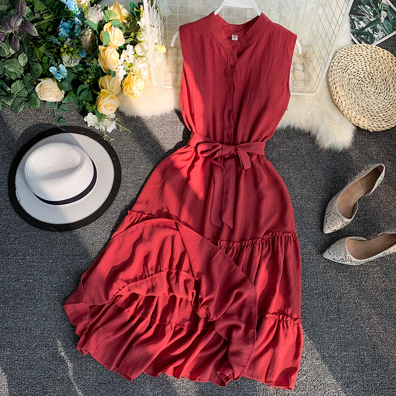 2019 new women's dresses Fresh solid color single-breasted sleeveless waist with ruffled dress female summer seaside vacation image