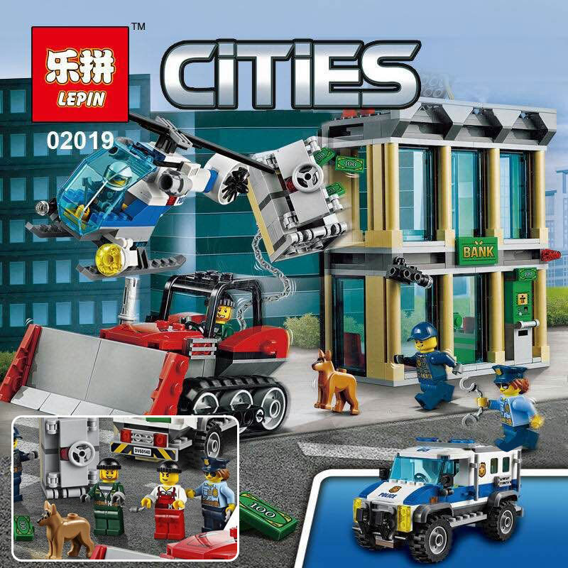 ФОТО 2017 Lepin 02019 606Pcs City Series The Bulldozer Break-in set Children Educational Building Blocks Funny Toys Model Gift 60140