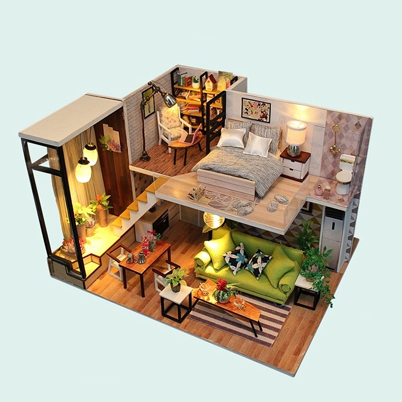 DIY Miniature Doll House Model Manual Assembly Furnitures Decoration Toy Families Dollhouse Building Kits Children Birthday Gift