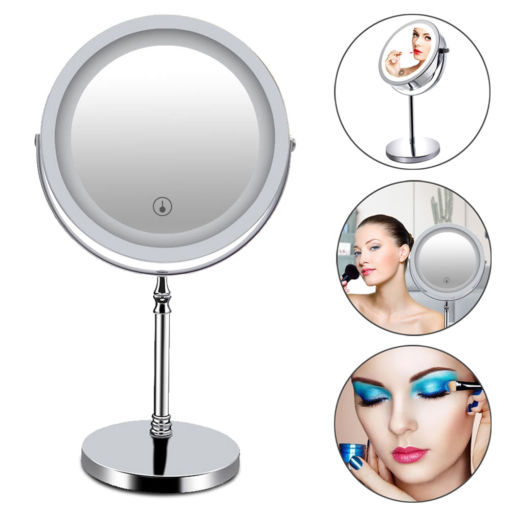 New 7Inch Double Sided Makeup Mirror 10x Magnified Dimmable 360 Swivel Mirrors for Bedroom Bathroom HJL2018 все цены