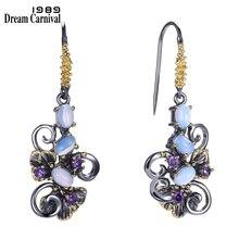 DreamCarnival1989 Recommend Beautiful Flower Earings Gift Women Must Have Vintage Design Dangle Blue Opal Stones Jewelry WE3857