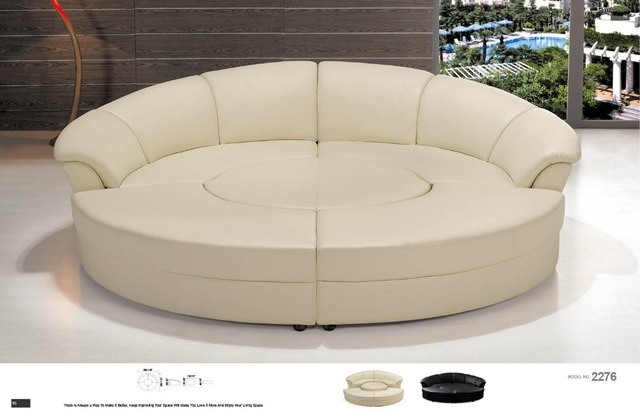 Round Corner Sofa Leather Sectional