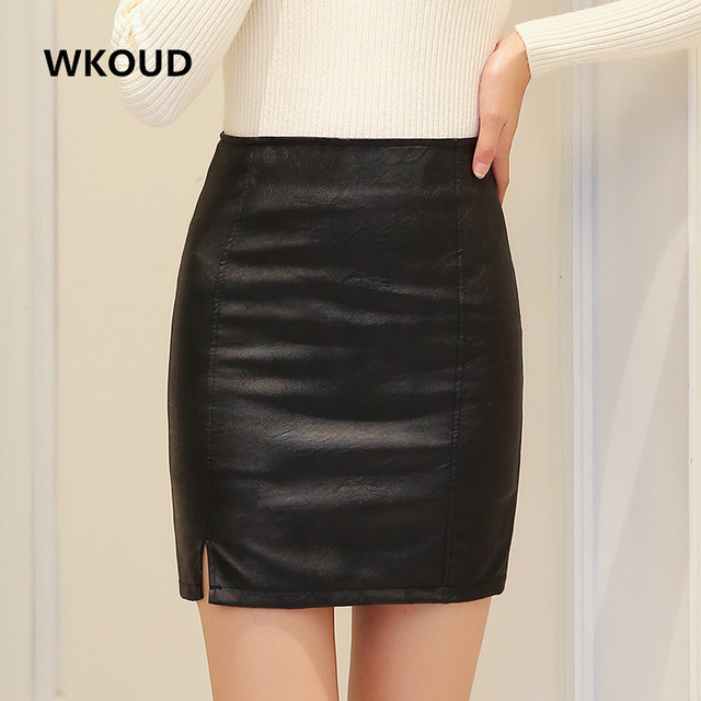 e4ddc52a70da WKOUD Women PU Leather Skirt Black Solid Mini Skirts Side Zip Up Slip Pencil  Skirt Female All Seasons Short Skirts DK6033