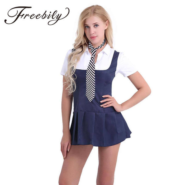 0708cea993d FREEBILY 2pc Women Adult Schoolgirl Student Costume Uniform Sexy Adult  Costumes with Necktie Girl Cheerleading Role play Costume-in Dresses from  ...