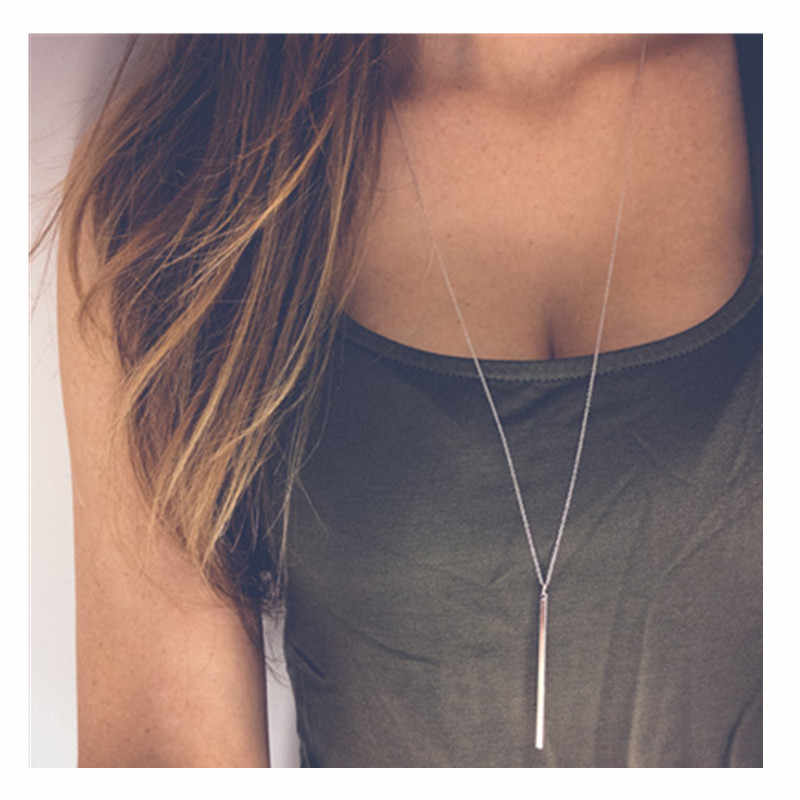 Double Fair Anti Allergy Hot Sale Y Style Chain Long Necklaces & Pendants Rose Gold Color Strip Bar Jewelry For Women X223