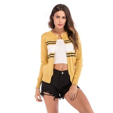YYFS Women short coat ladies stitching color stripe jackets  female casual knitting o-neck Long sleeve new arrivals