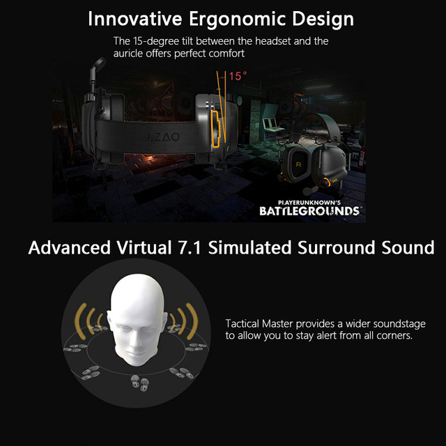 Game Headset Tactical Master - 008 Immersive Gaming Headset with Virtual 7.1 Surround Sound Game Headphones for PC PS4 Earphone 5