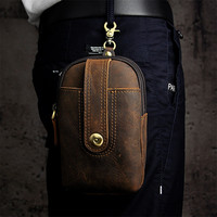 Retro Waist Bags Genuine Leather Men Fanny Pack Belt Bags Phone Pouch Bags Travel Waist Pack