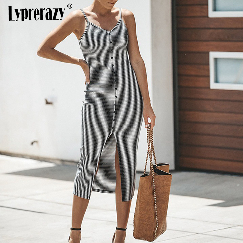 Lyprerazy Women <font><b>sexy</b></font> Summer Beach Stripped dresses Casual Maxi <font><b>vestido</b></font> <font><b>de</b></font> <font><b>renda</b></font> Long Dress women Front Split <font><b>Bodycon</b></font> dress image