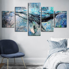 Home Decorative Canvas HD Prints Whale Paintings Abstract Animal Modular Pictures For Living Room Wall Art Poster Artwork Framed(China)