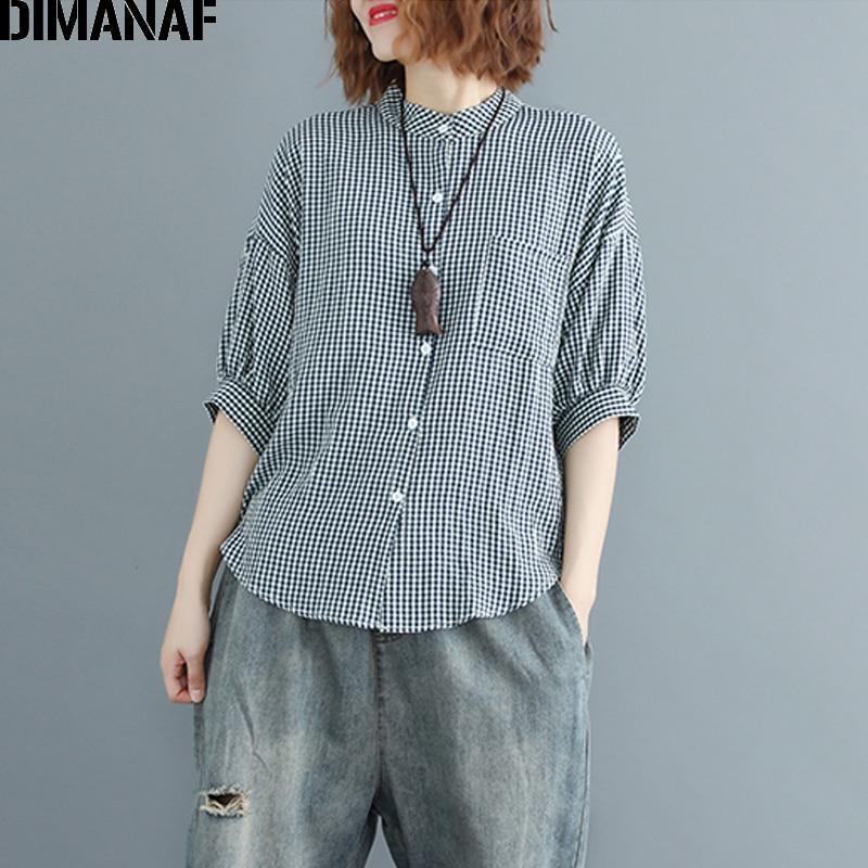 DIMANAF Women Blouse Shirt Cotton Summer Print Plaid Basic Tops Casual Femme Office Lady Loose Plus Size Cardigan Clothing 2018