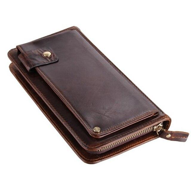 52e208143bbb Роскошный кошелек из натуральной кожи мужской кошелек кожаный мужской клатч модный  женский кошелек монета Сумка зажим