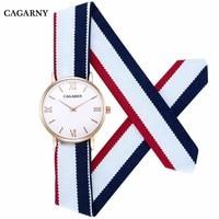 CAGARNY Women Watches Top Luxury Brand Ultra Thin Gold Watch Fashion Ladies Fabric Strap Bracelet Wristwatch