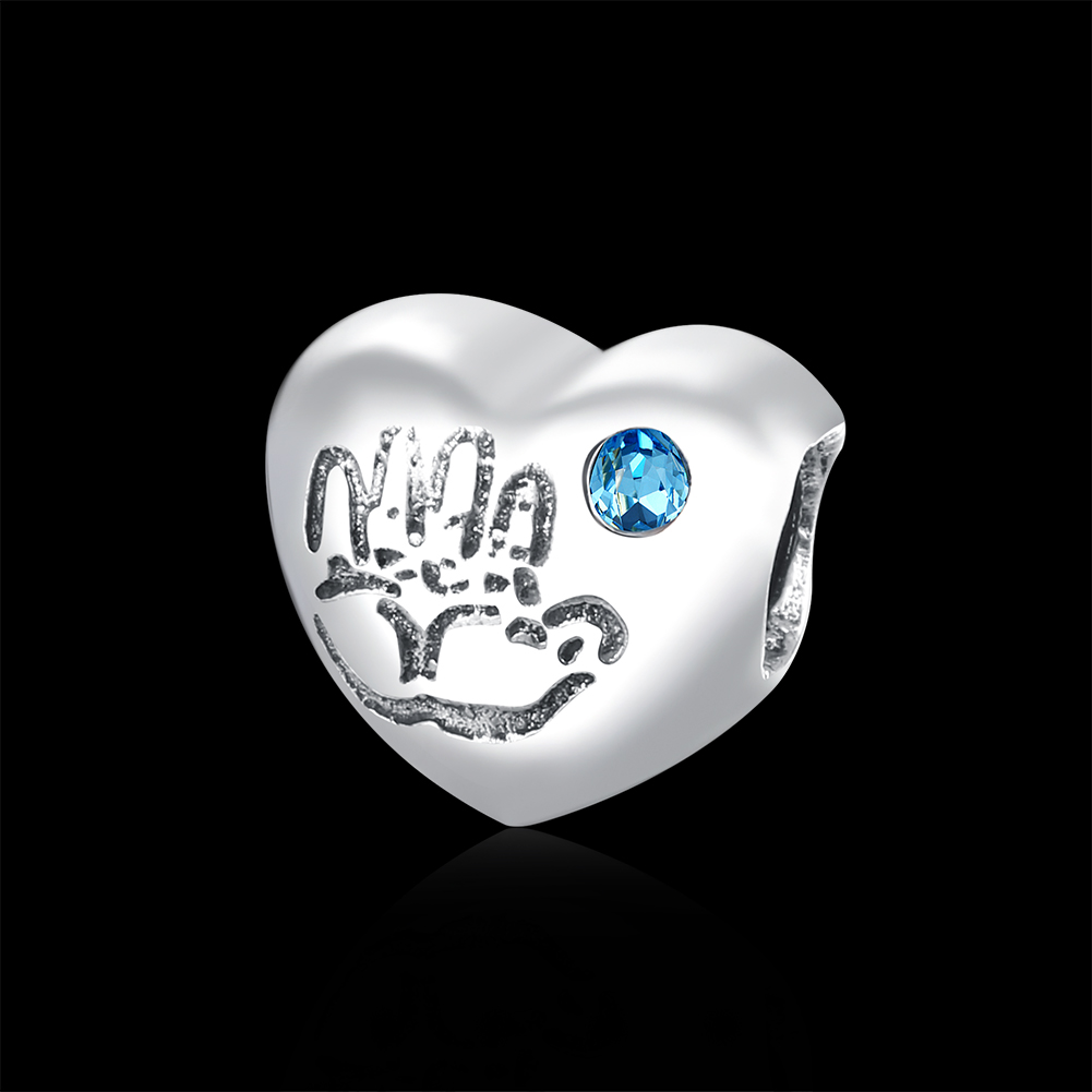 ROLILASON 4 1g Heart 925 sterling silver Pendant Light blue Gem With Crown Charms For Women SN115 in Pendants from Jewelry Accessories