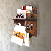 Thai style solid wood creative retro tissue paper towel roll holder kitchen towel rack roll holder LO5311141