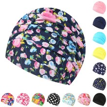Swimming Hat Women Unisex Girls Long Hair Bathing Cap Stretch Drape Free Size Swim Pool Sport Elastic Nylon Turban