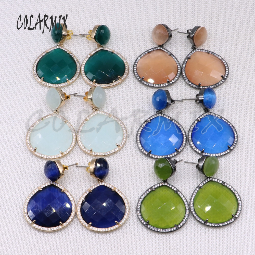 Wholesale Round crystal  stone earrings Faceted stone earrings Mix color stone earrings Fashion jewelry gift for lady4509