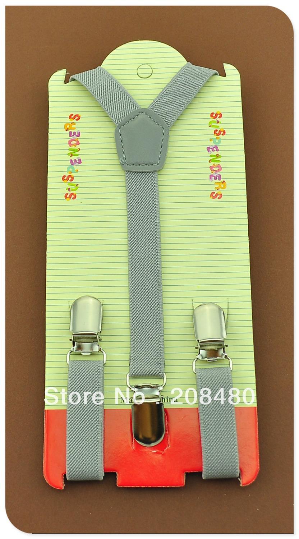 Free Shipping-1.5x65cmLight gray Kids Suspenders Children/Boys/Girls Suspender Elastic Braces Slim Suspenders-Wholesale&Retail