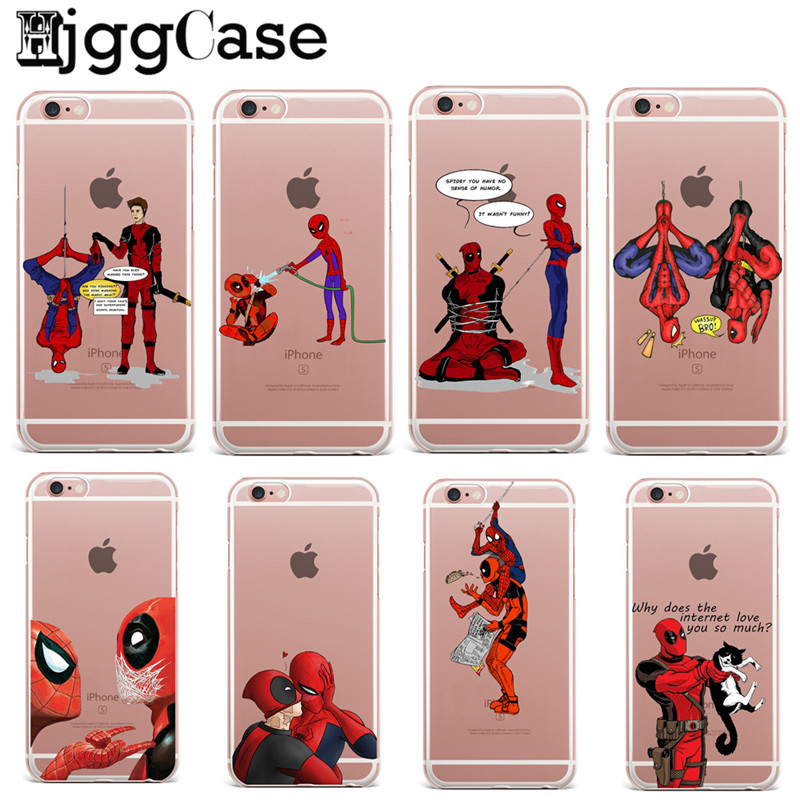timeless design 163b0 18de9 Funny Spiderman Comics Deadpool Marvel TPU Cases For Fundas iPhone 6 Case  SE 5S 6 6S 7 Plus Case Soft Silicone Protective Cover