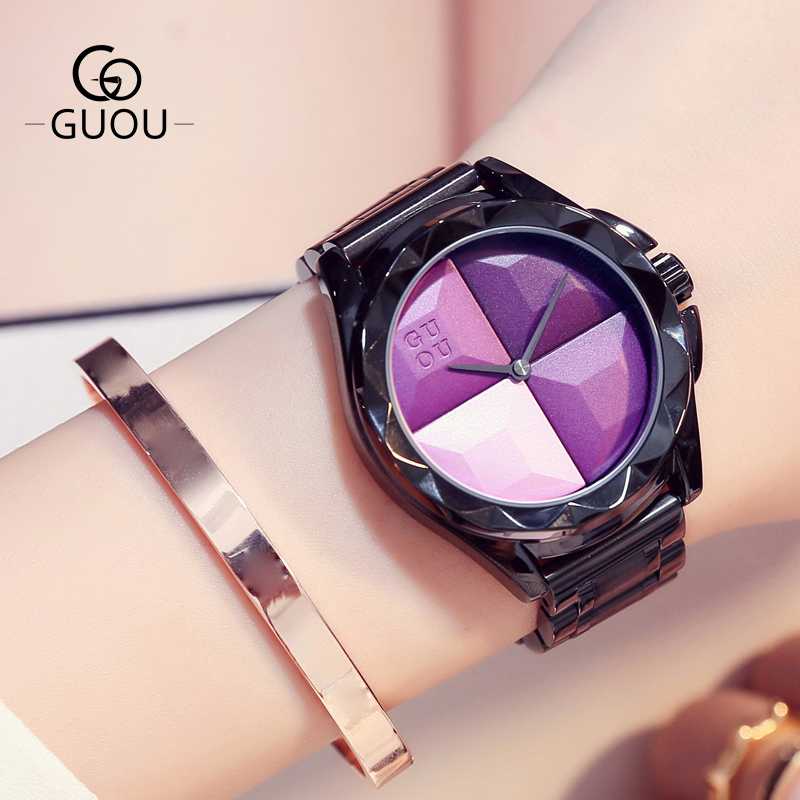 GUOU Watches Top Luxury Exquisite Ladies Watch Blush Paragraph Tide Quartz Watch Bogue Trend Stainless Steel