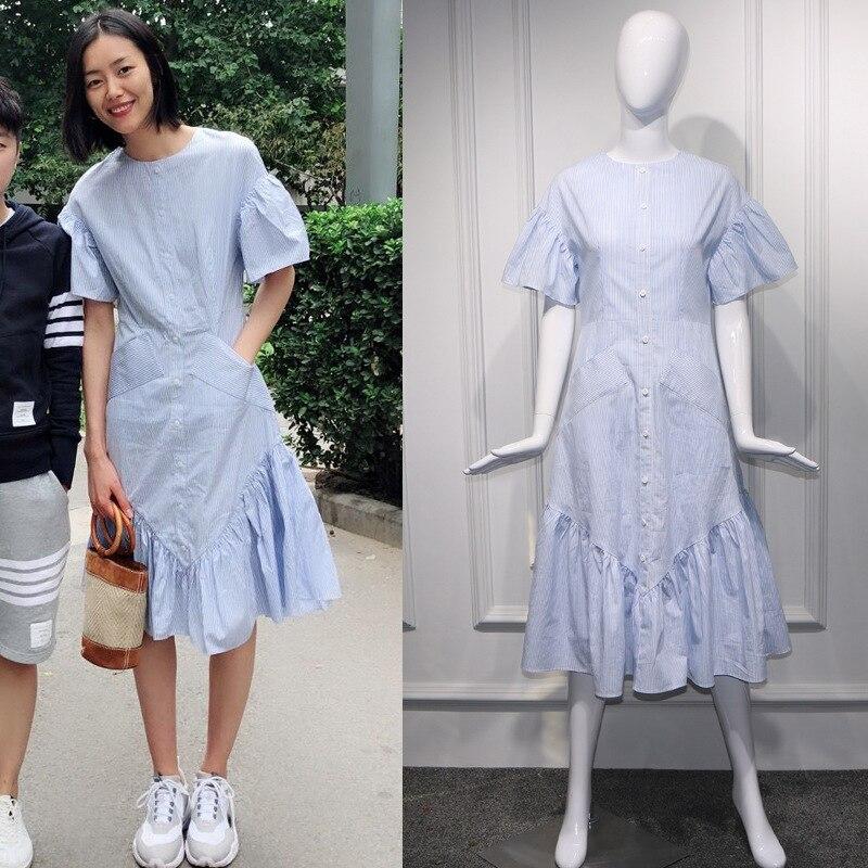 Nouveau 2019 été avec falbala rayé long falbala ample dans une robe de poche femme