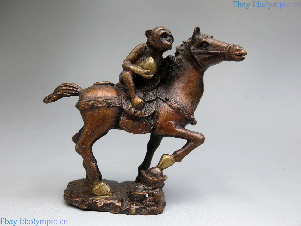 China brass sculpture carved fine copper Feng Shui Yuan bao monkey horse Statue China brass sculpture carved fine copper Feng Shui Yuan bao monkey horse Statue