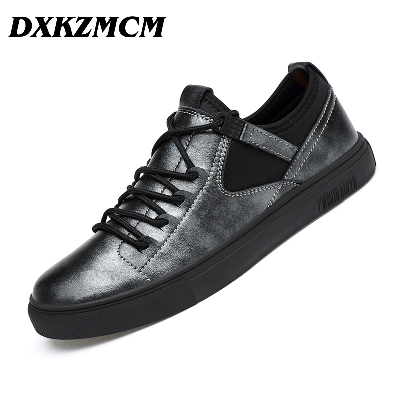 цена DXKZMCM Men's Shoes, Handmade Genuine Leather Men Casual Shoes, Men Fashion Designer Flats Sneakers Shoes
