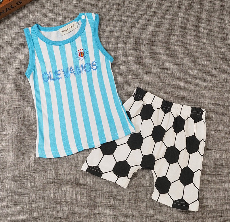 Kids Boys Clothes Sportswear 2017 Summer Baby boys girls clothing set Casual Football clothes sets Tops+shorts sport suit