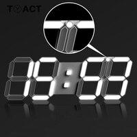 Digital Wall Clock 3D LED Display Alarm Clocks Kitchen Office Table Desktop Wall Watch Modern Design 24 Or 12 Hour Display Mute