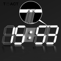Digital Wall Clock 3D LED Display Alarm Clocks Kitchen Office Table Desktop Wall Watch Modern Design 24 Or 12 Hour Display Mute