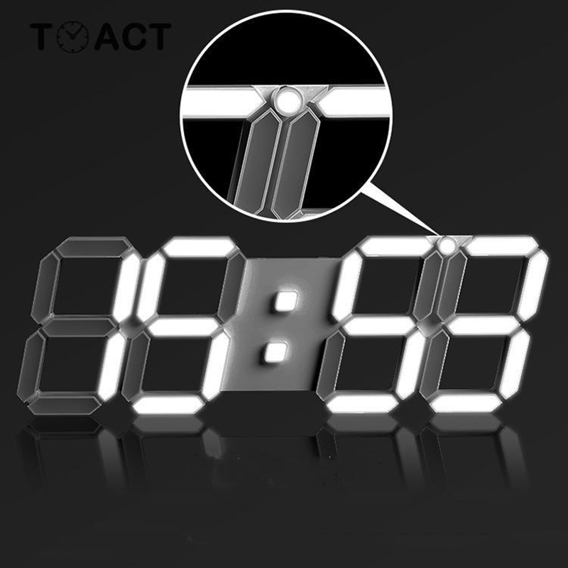 Digital Wall Clock 3D LED Display Alarm Clocks Kitchen Office Table Desktop Wall Watch Modern Design 24 Or 12 Hour Display Mute image