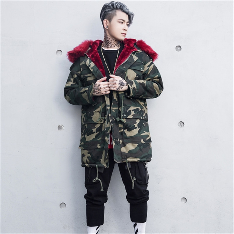 Male Warm Coat Fashion Casual Parka Medium-Long Thickening Coat Men For Winter S-XXLFashion  Stylish Camouflage Jacket Overcoat