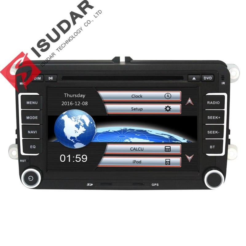 Isudar רכב נגן מולטימדיה 2 דין רכב DVD עבור פולקסווגן/פולקסווגן/גולף/פולו/Tiguan/פאסאט /b7/b6/מושב/ליאון/סקודה/אוקטביה רדיו GPS DAB