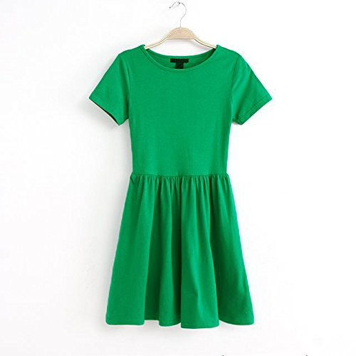 TFGS Hot New Casual Women Jersey Dress Solid Design Short Sleeves Slim Fit Sweet One-piece Mini