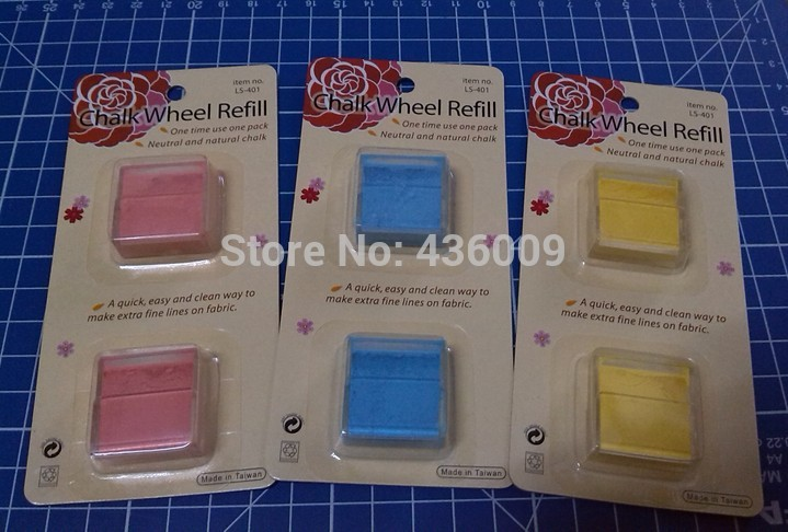 DIY Sewing Parts Chalk Wheel Spares Three Colours --- Rosy red / Yellow / Blue chalk wheel refill