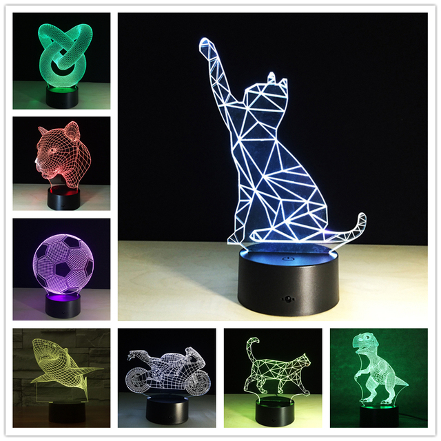 Dons criativos Lâmpada Motocicleta Luz Da Noite 3D Robot USB Led Desk Mesa Lampara como Home Decor Quarto Reading Nightlight