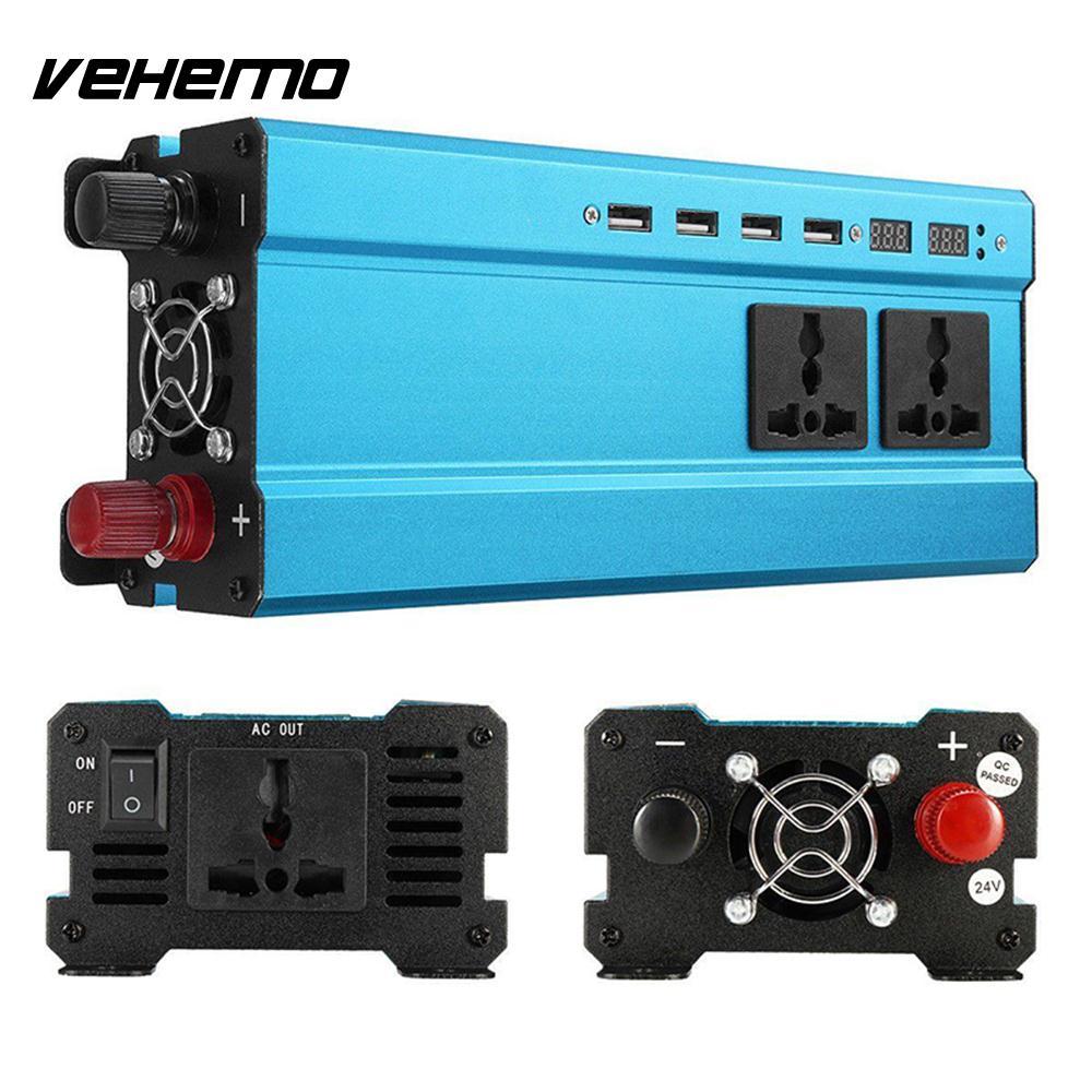 Vehemo DC24V à AC220V voiture onduleur transformateur solaire onduleur haute Performance Auto onduleur adaptateur LED